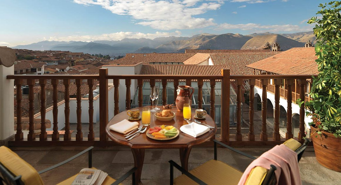 A view from the balcony at Belmond Palacio Nazarenas, one of the best Cusco luxury hotels.