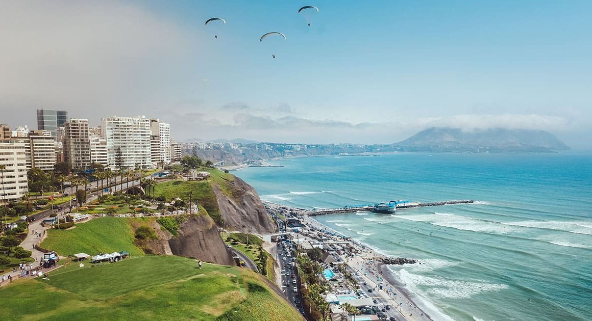 An aerial view of Lima's Malecón and Pacific coastline.